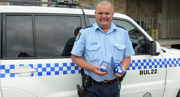 Senior Constable Trevor Mcleod awarded the NSW Police Medal for 30-years of dedicated service.