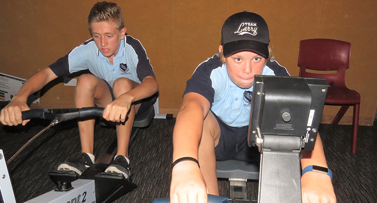 Rowing Machine: Blake Richardson from Tea Gardens and Angus Devon from Booral.