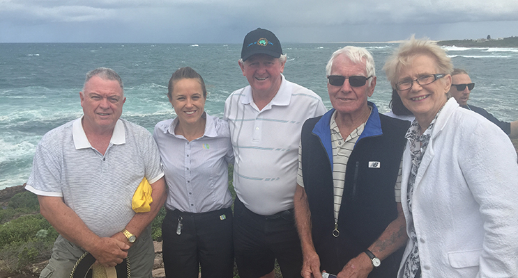 : Robert Pitts, Laura Renehan, Peter Murray, Kevin Graham and Cr Sally Dover, all of whom contributed greatly to the Whale watching path at Noamunga Headland.