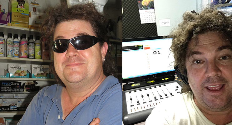 Crazy Dave named a finalist in Broadcast Awards.  (left) Broadcast Award finalist Crazy Dave in the studio at Great Lakes FM. Photo: Supplied(right)