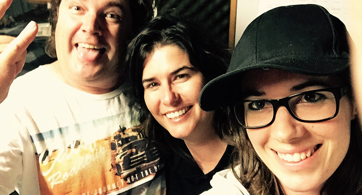 Crazy Dave with Kelly and Jackie from Bandintexas in the studio at Great Lakes FM. Photo: Supplied