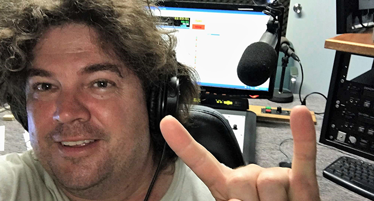 Broadcast Award finalist Crazy Dave in the studio at Great Lakes FM. Photo: Supplied