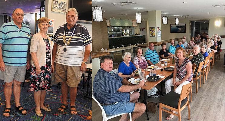 Management committee: Eric Platzer, Treasurer, Annette Jones, Secretary, and Roy Jeffery, President. (left) 2.The Fingal Bay Probus Club Changeover Lunch.(right)
