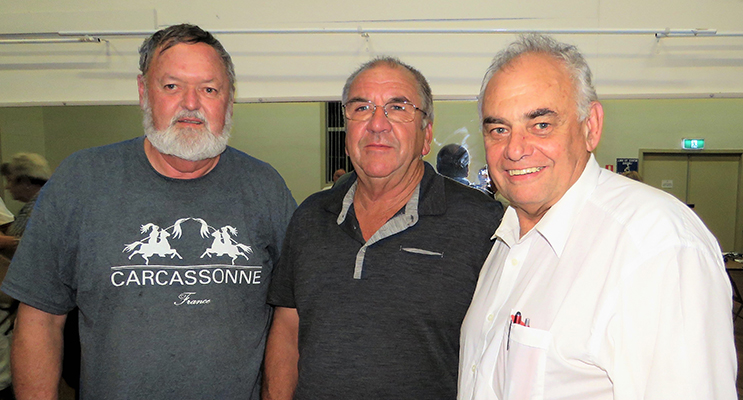 Residents Kevin Carter and Arthur Baker with MidCoast Local Representative Committee member Len Roberts, at Council's update session held at Bulahdelah