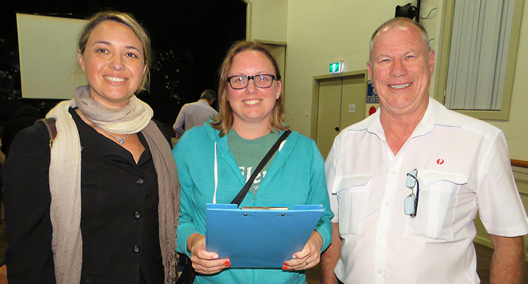 MidCoast Local Representative Committee member Katheryn Smith with residents Ashley Dexter and Roger Dixon at the community update session held at Bulahdelah