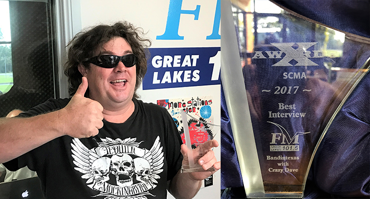 Winner: Crazy Dave with his award for excellence in community broadcasting.  (left) Award: Crazy Dave's trophy for Best Interview. (right)