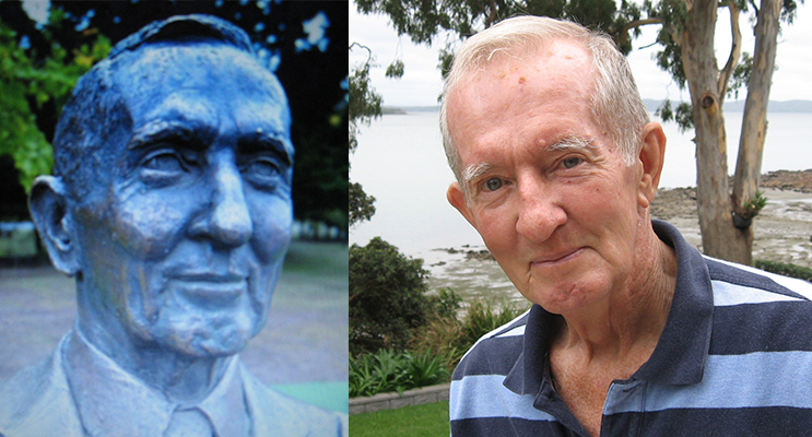 The bronze bust at NEGS. (left) Ian at his Tanilba Bay home.(right)