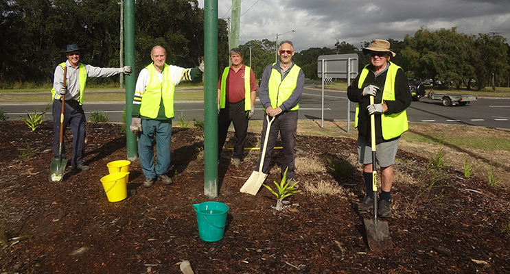 The tidy towns team on one of the mounds at the entrance to Medowie.