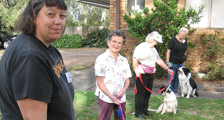 Pooches and their providers learning the finer points of obedience at their Saturday training session.