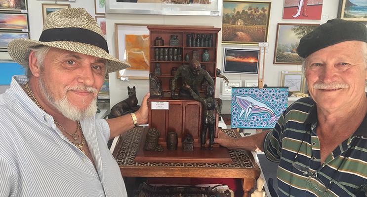 Michael Jablonski pictured with Bronze Sculptor Artist Frank Mills.