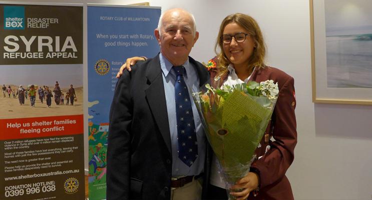 Miss Fabia Baumgartner with Rotary Club Williamtown President, Mr Geoffrey Hamilton.