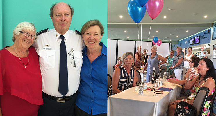 Event organiser Sharon Day with deputy unit commander Neil Hansford and Fingal Bay Sports Club promotions and administration officer Vicki Page. ( left) In between the frivolity, attendees received a sobering message regarding rescue operations conducted by Marine Rescue Port Stephens. Photos by Jo Finn ( right)