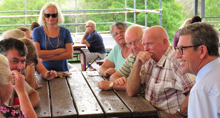 Dr David Gillespie MP listens to the views of community members at the Listening Post session in Bulahdelah.