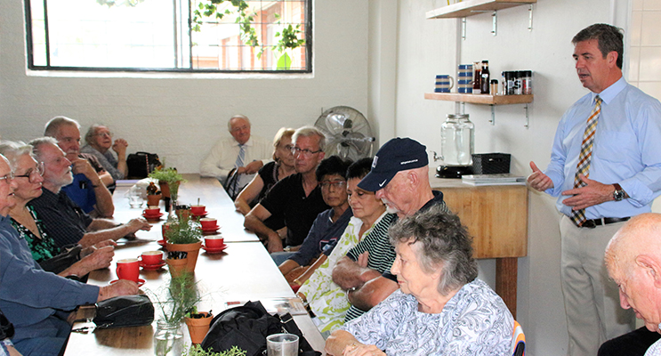 Listening Post: Federal Member for Lyne Dr David Gillespie meets with residents at Karuah's Four One Six Cafe. Photo Supplied