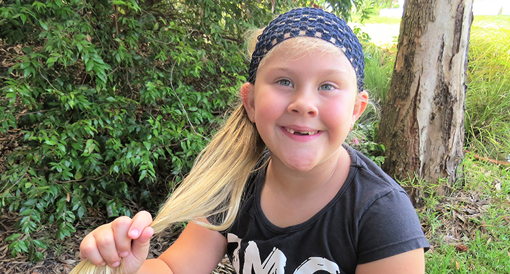 Six-year-old Kirra-Lea Rooney will be donating her ponytail to help sick kids.