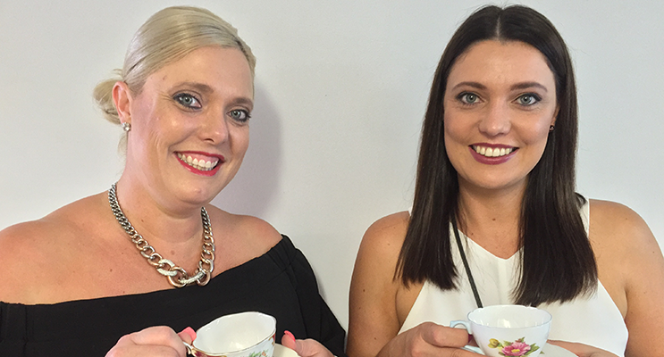 Katrina Becker and Katie Lavender are ready for a cuppa for a good cause.
