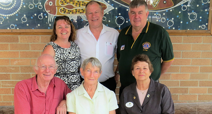 BCS Deputy Principal Deb Gilbert, Bulahdelah Lions Club President Roger Dixon and District Governor Glenn Byrnes, Lions Les and Carol Tattersall and Zone Chairperson Inga Kasch.