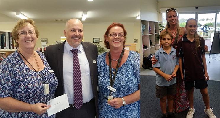 LIBRARY DONATION: Librarian Carol Johnson, Principal Simon Herd, Librarian Chris Shelly.(left) HOMEWORK HELP: Ashton Baillie, Sharney Baillie, Lilliana Baillie( right)