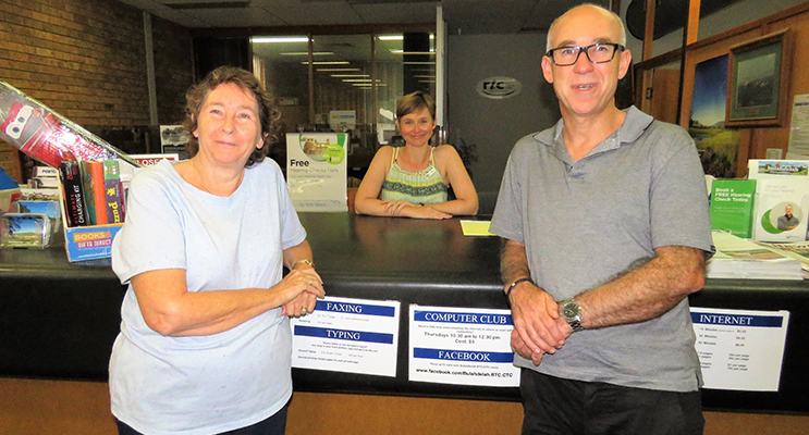: Librarian Loraine Farrell, RTC Customer Service Officer Kim Kent and MidCoast Library Services Manager Chris Jones at Bulahdelah Rural Transaction Centre.