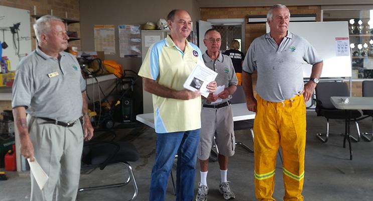 MOTORFEST RECIPIENT: Jergen Seil, Recipient John Hughes, Graham Kelly, Ranald Mackay.
