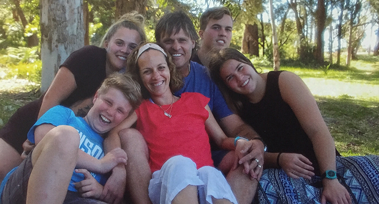 1.Angela Wood (centre) surrounded by her family: Riley Burgess, Chloe Wood, Matt Wood, Josh Wood and Ella Wood. Photo supplied
