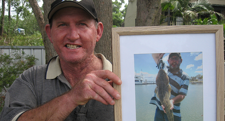 In the frame. Dave with a photo of himself and the big one.