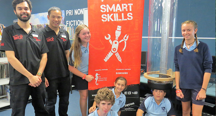 Smart Skills Workshop: Presenters Josh Ezackial and Jason Lee with secondary students Khloe Middleton, Annie Sullivan, Ross Bishell, Carol Poniris and Brandan Price.