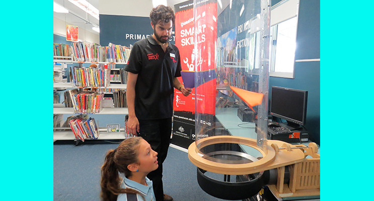 Wind Tunnel Challenge: Year 6 student Maddi Tassell tests her model with Josh Ezackia