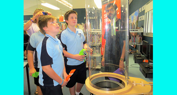 Success: Toby Barry and Samual Bidwell test their models in the wind tunnel with Josh Ezackia.