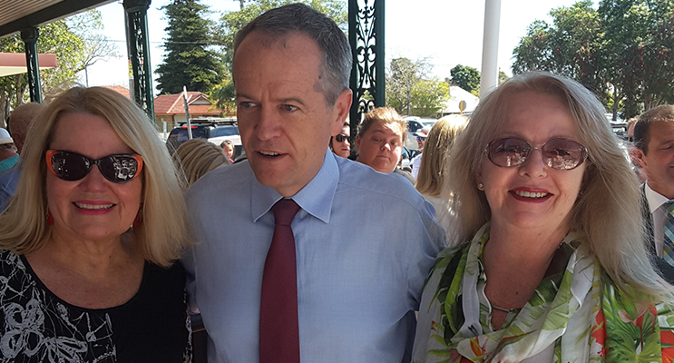 Labor's Tomaree branch president Heather Letham  and Gail Armstrong flank Federal Leader of the Opposition Bill Shorten. Photo by Graham Blythman