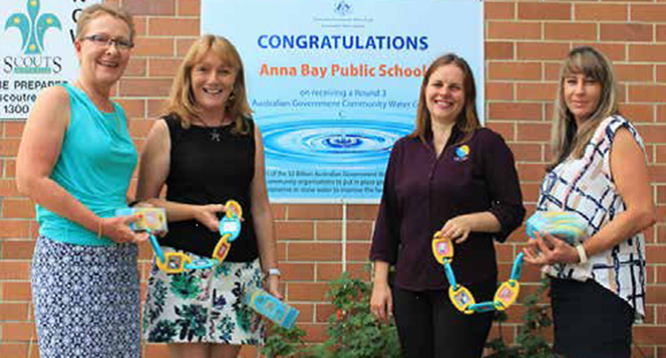 Arja Levonpera Youth Director, Claire Morrison Anna Bay Primary School, Kathy Rimmer Nelson Bay Rotary Treasurer and Laice Moses deliver the Klipee Educational Toys to Anna Bay Primary School. Photo supplied
