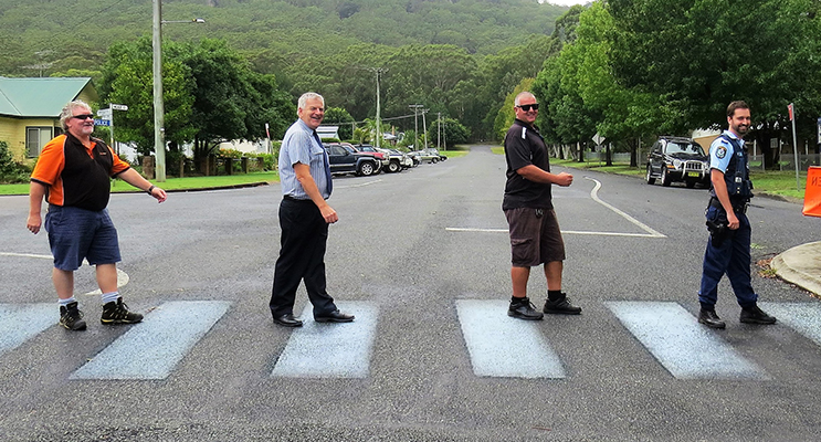 : Supporting School Zone Safety: Busways Depot Manager Kevin Price, BCS Principal Mr Don Hudson, MidCoast Council Road Safety Officer Chris Dimarco and Senior Constable Dave Feeney