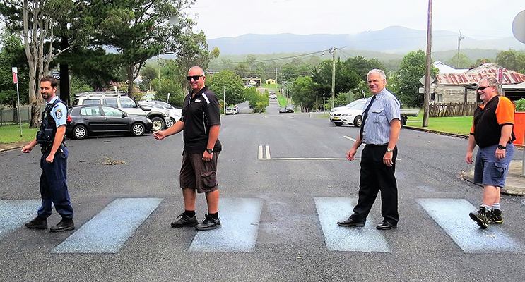 : Working Together: Busways Depot Manager Kevin Price, BCS Principal Mr Don Hudson, MidCoast Council Road Safety Officer Chris Dimarco and Senior Constable Dave Feeney