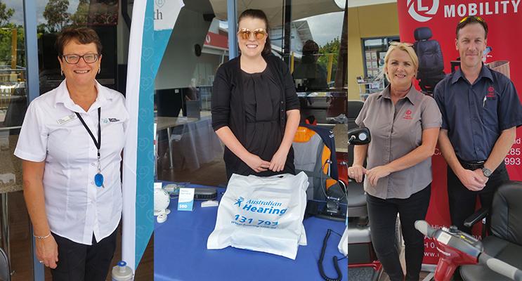 EXPO INFO: Elsa Colella, Estia Health.(left) Courtney Diamond, Australian Hearing.( center)Christine Heys and Stephen Argyle, Local Mobility.(right)