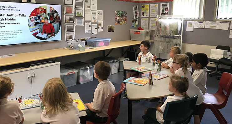 St Joseph's Bulahdelah students participated in a virtual video conference with Leigh Hobbs.