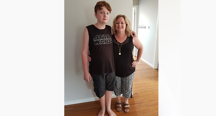 Judy Merrett with son Dylan, 13. Photo by Sarah Stokes