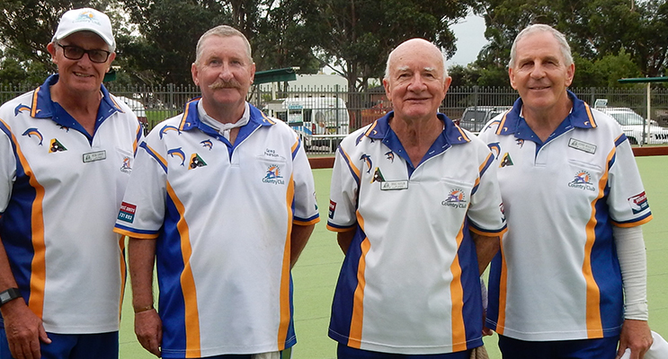 """The undefeated Mid-Week Pennant team of Peter Gurney, Greg Pearson, Doug Naylor and Geoffrey Muggleton who have won their last 5 matches on the last end: """"The Houdini Four""""."""