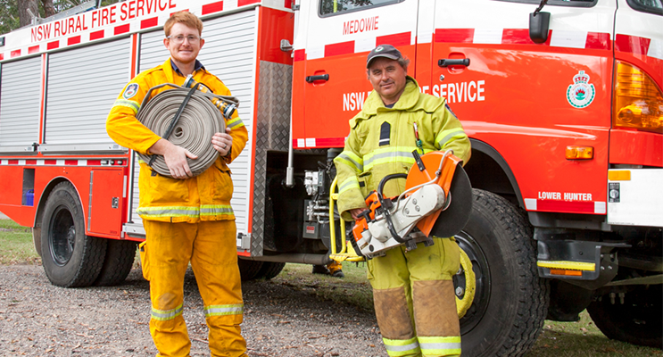 Medowie Rural Fire Brigade members Andrew Goodwin and Deputy Captain Peter Smith.  Photo by Gavin Smith