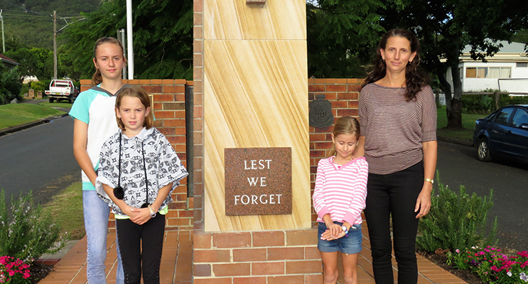 Annie, Polly, Mindy and Ren Sullivan will attend ANZAC Day Services at Bulahdelah Cenotaph.