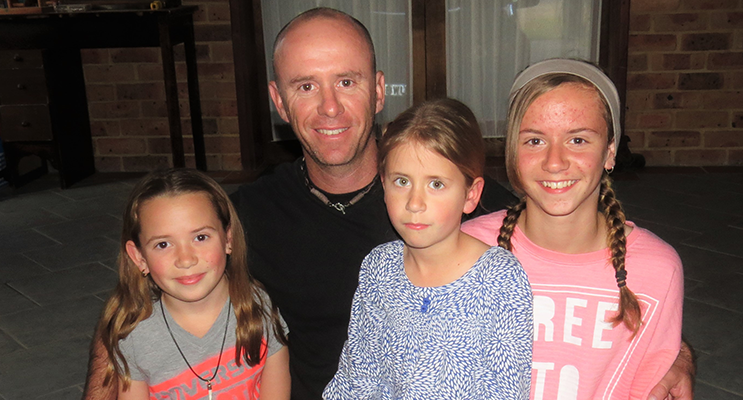 Family: Sean Sullivan with his daughters Polly, Mindy and Annie.