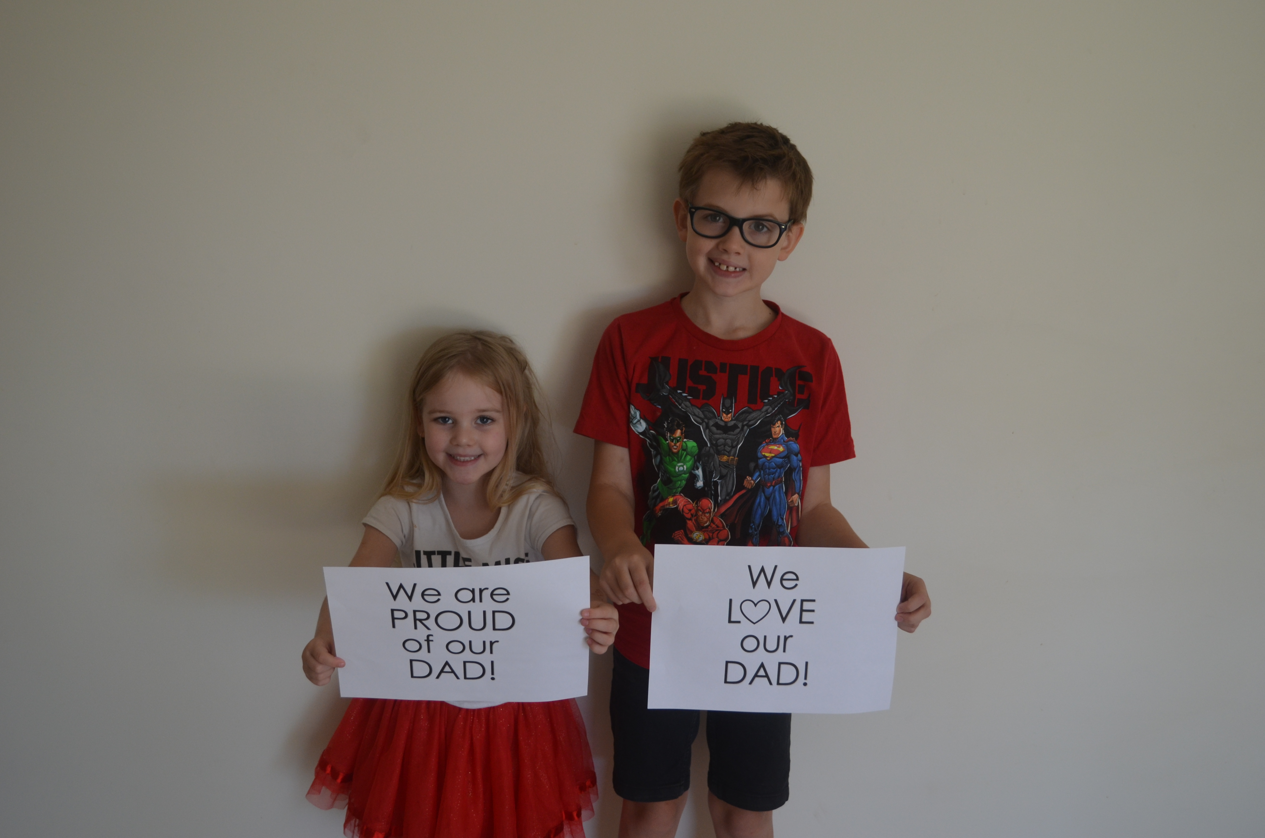 Michael and Olivia have a message for their Dad.