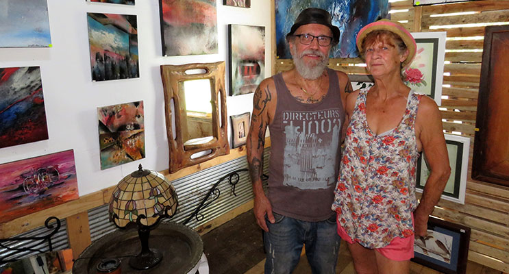 Artist Joseph Barbera with his partner Sheryl Phillips, at the Bulla Artists Gallery.