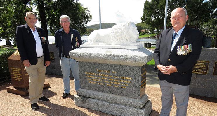 Karuah RSL sub-branch President Peter Fidden, Secretary Barrie French and Karuah RSL Vice-President Graeme Parker.