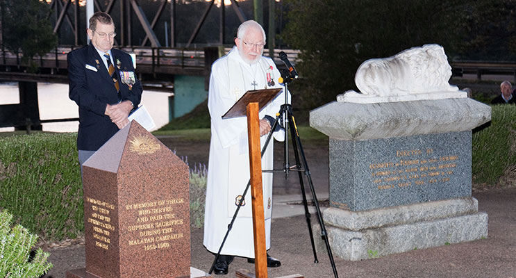 Karuah RSL sub-branch President Peter Fidden at the 2014 Dawn Service.