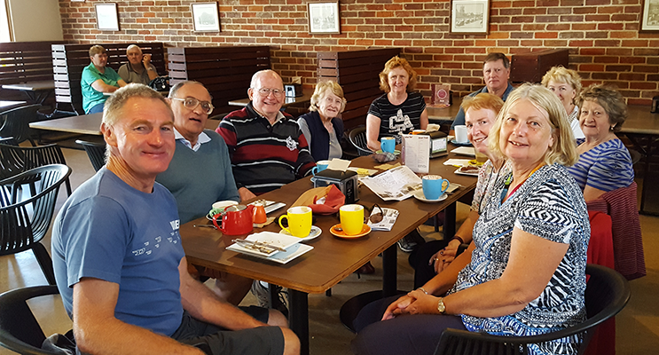 The Fingal Bay Probus Club testing the local coffee on one of their trips away.