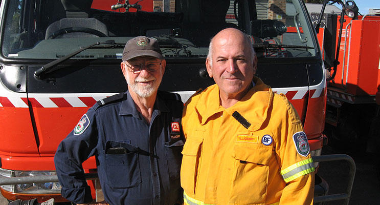 Back from the flood zone – Bruce and Joe at the Tanilba Bay station.