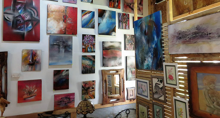 The Bulla Artists Gallery features a collection of art and sculptures.