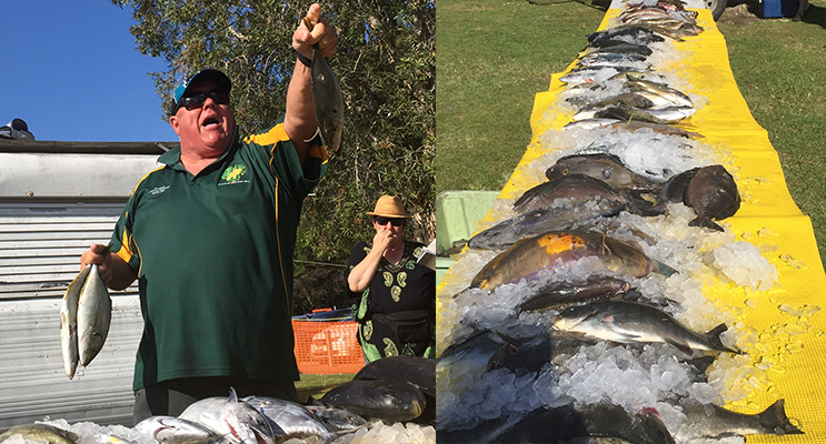 Trevally being auctioned by Joe Martindale. (left) The smorgasbord of fresh fish. (right)