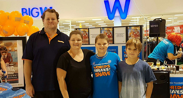 Steven, Lisa, Brooke and Nick Nicholson at the World's Greatest Shave event.
