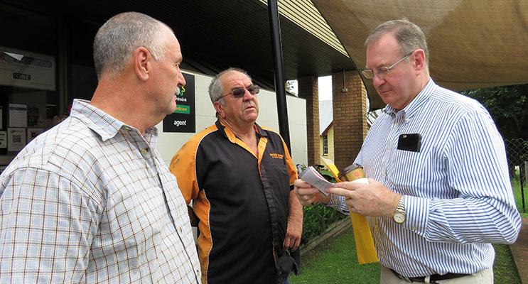 Myall Lakes MP Stephen Bromhead with Stephen Smith and Arthur Baker in Bulahdelah.
